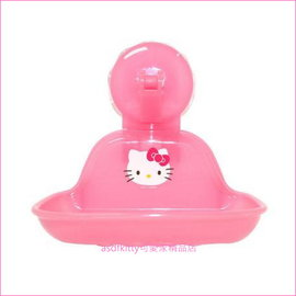 asdfkitty可愛家~KITTY果凍粉吸盤式肥皂架 香皂盤~可放菜瓜布~韓國製