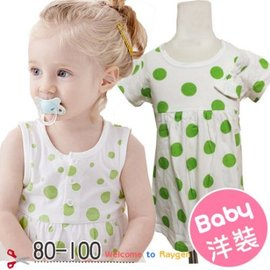 春夏女寶寶薄款 白底綠點上衣 80-100【HH婦幼館】