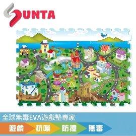 ~SUNTA無毒拼接墊~濱海小鎮EVA樂扣遊戲墊~32^~32^~1cm^(6片裝^)~地