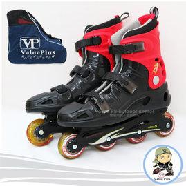 【義大利 Value Plus VP】飛力 成人款硬殼直排輪鞋.溜冰鞋/附專用背包/一體成型強化塑鋼底底座/SH-29 黑紅