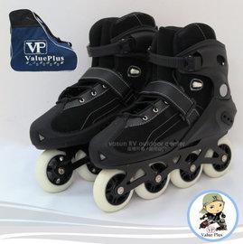 【義大利 Value Plus VP】飛力 成人款高級型布面鋁合金底休閒直排輪鞋.溜冰鞋/附專用背包/經國家安全檢驗合格/ST-09 黑