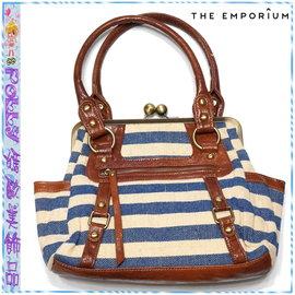 ☆POLLY媽☆日本THE EMPORIUM棕色皮質/藍白條紋麻質帆布銅扣手提包