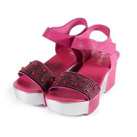 女  DANBILI 珠飾寬版厚底涼鞋 梅紅 女鞋 鞋全家福