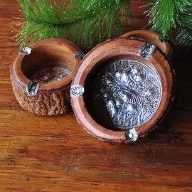 泰國 煙灰缸 木質 原生態煙灰缸 兩個一組 ~ CASH00025