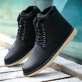 馬丁鞋 加絨馬丁靴男士雪地靴保暖靴子 短靴加厚棉鞋高筒男鞋子男N17 型男部落
