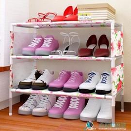 小鞋架簡易 迷你多層不�袗�布鞋柜 簡約 大容量鞋架經濟型N17 Dudubobo