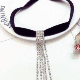 美麗大街~GX513~  明星網潮法蘭絨爪鑲閃鑽流蘇 頸鍊 項鍊