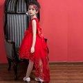 ~童伶寶貝~MG030~婚禮大紅色拖尾蕾絲刺繡女童禮服.花童.表演服.畢業典禮