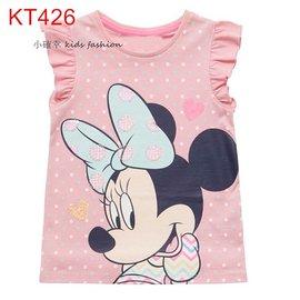 小確幸衣童館KT426 款純棉粉紅色飛飛袖可愛卡通大蝴蝶結米妮圖T
