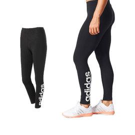 女子愛迪達 路跑 慢跑 束褲 內搭褲 棉質 緊身褲 黑色 adidas ESS LIN T