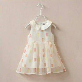 氣質歐根紗翻領小方格洋裝