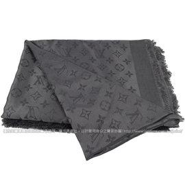 ~9成新~Louis Vuitton LV M74752 花紋羊毛絲綢披肩圍巾.煤炭色 價