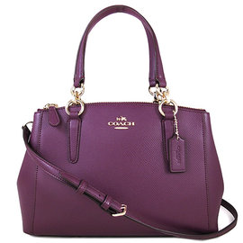 COACH 36704 紫莓色荔枝紋皮革CHRISTIE手提斜肩兩用包