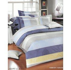 精梳純棉-訂製 3.5X6.2尺薄床包 ne 40 2 133*72 英倫潮流_藍色105