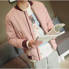 【JP.美日韓】韓國 鋪棉 棒球領 MA1 菱格貼線 立體剪裁 軍裝 男 外套