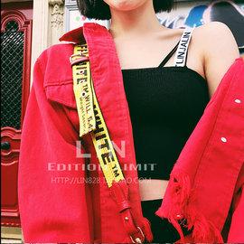 ~Love Fei 艾菲~〔內有實拍〕織帶LOGO露腰針織細肩帶小背心 小可愛 2色 XS