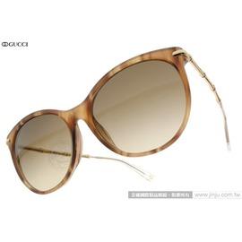 GUCCI 太陽眼鏡 GG3777FS HQZCC (木紋棕-金) 魅力典雅貓眼廣告款 墨鏡 # 金橘眼鏡