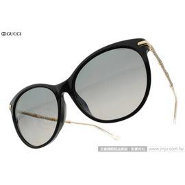 GUCCI 太陽眼鏡 GG3777NFS ANWWJ (黑-金) 鑲鑽貓眼偏光款 墨鏡 # 金橘眼鏡