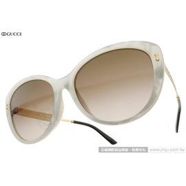 GUCCI 太陽眼鏡 GG3839FS U29J6 (珍珠白-金) 文藝復興雕刻貓眼款 墨鏡 # 金橘眼鏡