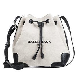 BALENCIAGA NAVY系列 尼龍帆布拼接皮革水桶包 黑色