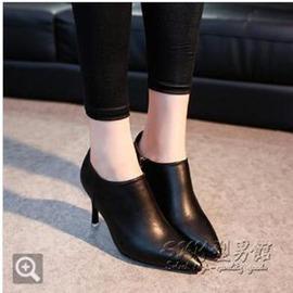 英倫風高跟短靴女鞋細跟尖頭女靴短筒靴單靴性感馬丁靴潮 2~7外貌鞋會