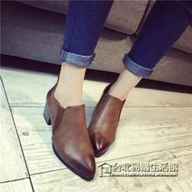 單鞋復古英倫馬丁靴及裸短靴小皮鞋尖頭粗跟中跟帥氣英倫鞋 2~8外貌鞋會