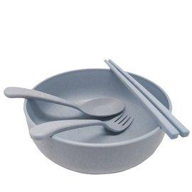 貝合 環保小麥大碗公餐碗加餐具組 便攜餐具組 大碗 湯匙 筷子 叉子 餐具四件組