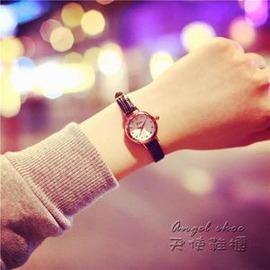 女錶少女皮帶手錶 學生小錶盤簡約復古細帶潮流石英錶E E 3C