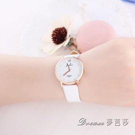 潮流 男士手錶水晶水鑽 簡約皮帶女士手錶學生手錶石英錶E E 3C