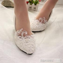 白色蕾絲中跟女鞋新娘拍照鞋演出伴娘單鞋軟底 平底高跟婚鞋外貌鞋會