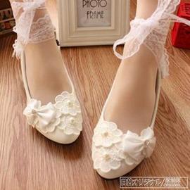 白色蕾絲水鑽綁帶新娘婚鞋婚紗拍照伴娘低跟女鞋蝴蝶結外貌鞋會