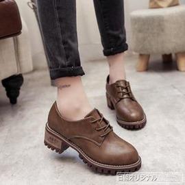 鞋子 粗跟中跟 馬丁靴繫帶圓頭低幫鞋 英倫學生單鞋女鞋外貌鞋會