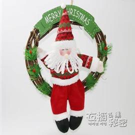 聖誕 聖誕花環聖誕節裝飾 掛飾門飾聖誕藤圈布偶老人櫥窗門藤條igoE E 3C
