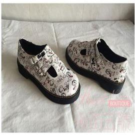 韓國ulzzang學院風復古女小皮鞋原宿日系軟妹單鞋圓 丁字娃娃鞋外貌鞋會