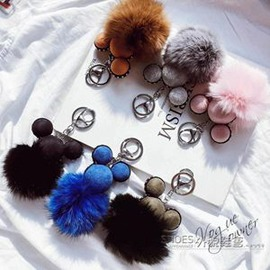 狐貍毛球鑰匙扣女士汽車鑰匙鍊韓國 簡約毛絨掛飾 包包掛件E E 3C