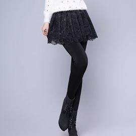 裙褲 加絨加厚外穿假兩件打底褲高腰大碼蕾絲裙褲打底褲E E 3C