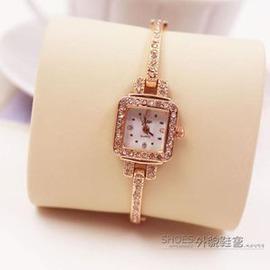 潮流 秀氣小巧方形手鐲錶女士學生手鍊手錶鋼帶時裝石英錶E E 3C