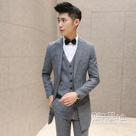 韓國 灰色男西服套裝人字呢修身中長款燕尾服禮服西裝三件套男E E 3C