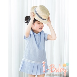 I BABY 春裝 外貿 女童 學院風 條文百褶裙 連衣裙 洋裝 短袖洋裝~NU0236~
