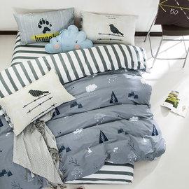 ~PAINT~北歐風格,下雨的森林,精梳棉,單人床包,兩用薄被套三件組( + )A0101