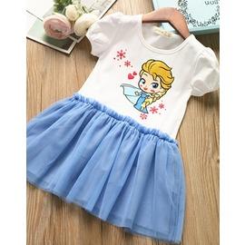 I BABY 春裝 外貿 女童卡通公主頭像短袖洋裝 拼接網紗裙 短袖娃娃裙衫 ~NU036