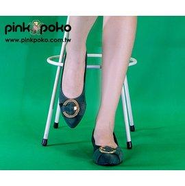 包鞋☆PINKPOKO粉紅波可☆時髦C字金屬尖頭平底娃娃鞋-2色#1148