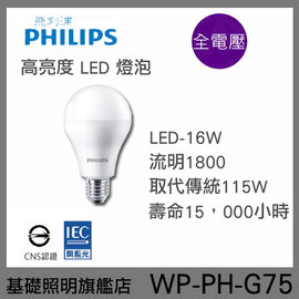 ~基礎照明旗艦店~^(WP~PH~G75^) 16W LED燈泡 於展覽會館 室內 商業空