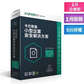 卡巴斯基小型企業安全解決方案 1台伺服器 5台工作站 5台行動裝置 5組密碼管理帳號 一年