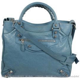 【8.5成新】BALENCIAGA 巴黎世家 282010 Giant Velo 銀釦兩用機車包.藍 #598現金價$32,800