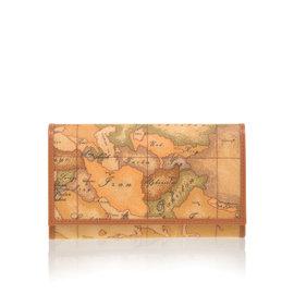 Alviero Martini 義大利地圖包_扣式8卡零錢中長夾