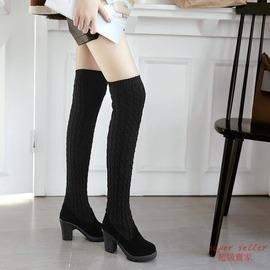 長靴 毛線過膝長靴女兩穿彈力顯瘦長筒靴高跟平底女靴子粗跟N4酷咖 旗艦店