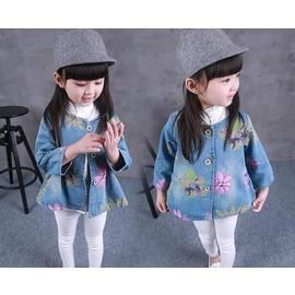外套 兒童 秋款新品女童可愛滿版花朵圓領單排扣牛仔外套N4酷咖 旗艦店