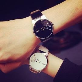潮流 簡約黑白男錶女錶原宿風女生學生皮帶情侶手錶N4型男原創館