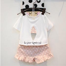 I BABY 2017   女童 冰淇淋 短袖T恤 木耳邊波點短褲 兩件套 套裝~NA04
